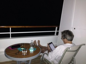 It was warm enough to read on the verandah at night underway